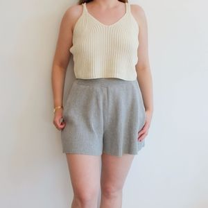 Pants - Grey Ribbed Shorts